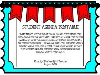 Student Agenda Printable