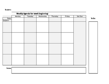 Student Agenda - Weekly - 4 Subjects