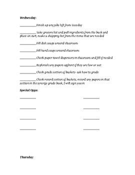 Student Aide Checklist