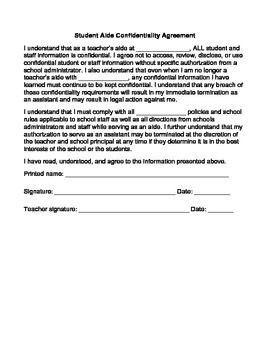 Student Aide Confidentiality Agreement