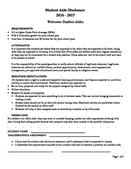 Student Aide Disclosure (Office and Teacher Aide)