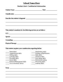 Student Alert Sheet