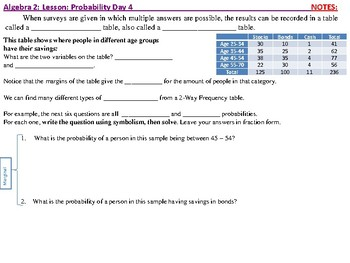 Student: Alg 2: CU 11: Probability Day 4: Probability & Two-Way Frequency Tables