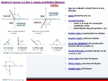 Student: Algebra 2: CU 10: 5.1 Day 1: Angles and Radian Measure