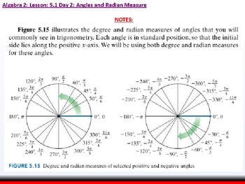 Student: Algebra 2: CU 10: 5.1 Day 2: Angles and Radian Measure