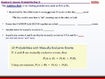 Student: Algebra 2: CU 11: Probability Day 2: The Addition Rule
