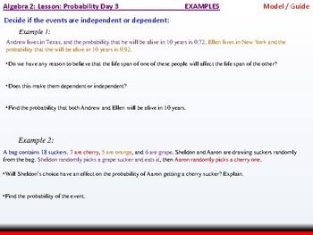 Student: Algebra 2: CU 11: Probability Day 3: The Multiplication Rule