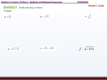 Student: Algebra 2: CU 2: P.3 Day 1: Radicals and Rational Exponents