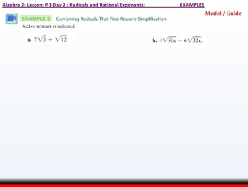 Student: Algebra 2: CU 2: P.3 Day 2: Radicals and Rational Exponents