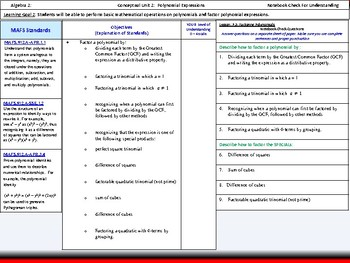 Student: Algebra 2: CU 2: P.5 Day 3: Factoring Polynomials