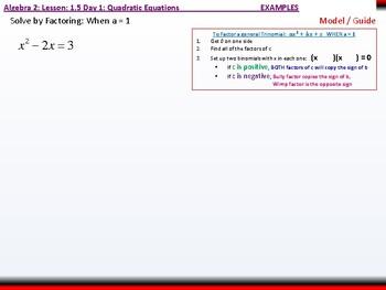 Student: Algebra 2: CU 3: 1.5 Day 1: Quadratic Equations