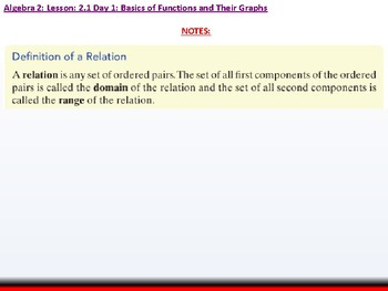 Student: Algebra 2: CU 3: 2.1 Day 1: Basics of Functions and their Graphs