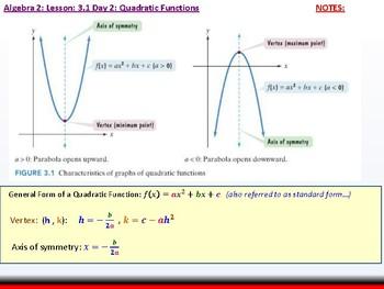 Student: Algebra 2: CU 3: 3.1 Day 2: Quadratic Functions