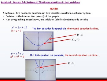 Student: Algebra 2: CU 3: 8.4: Systems of Nonlinear Equations in Two Variables