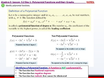 Student: Algebra 2: CU 4 and 5: 3.2 Day 1: Polynomial Functions and their Graphs
