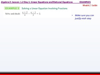 Student: Algebra 2: CU 6: 1.2 Day 1: Linear Equations and Rational Equations