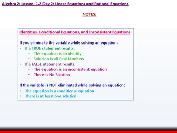 Student: Algebra 2: CU 6: 1.2 Day 2: Linear Equations and Rational Equations