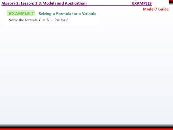 Student: Algebra 2: CU 6: 1.3: Models and Applications