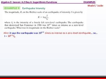 Student: Algebra 2: CU 7: 4.2 Day 4: Logarithmic Functions