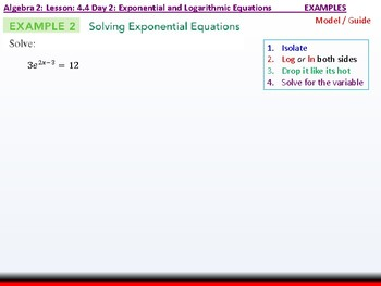 Student: Algebra 2: CU 7: 4.4 Day 2: Exponential and Logarithmic Equations