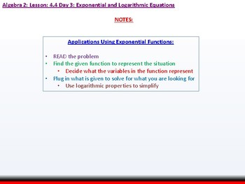 Student: Algebra 2: CU 7: 4.4 Day 3: Exponential and Logarithmic Equations