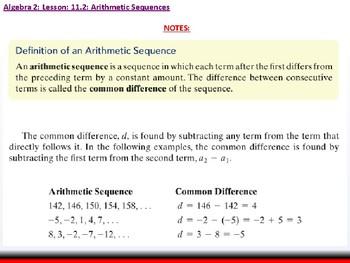Student: Algebra 2: CU 8: 11.2: Arithmetic Sequences