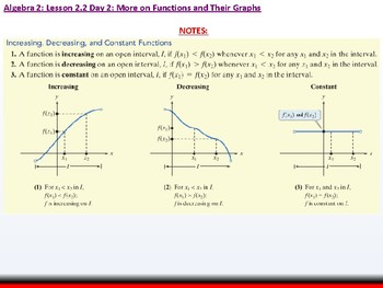 Student: Algebra 2: CU 9: 2.2 Day 2: More on Functions and their Graphs