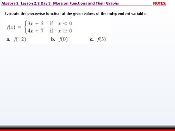 Student: Algebra 2: CU 9: 2.2 Day 3: More on Functions and their Graphs