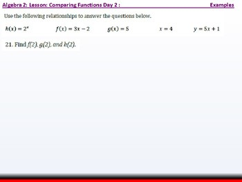 Student: Algebra 2: CU 9: Algebra 2: Comparing Functions Day 2