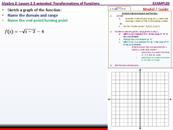 Student: Algebra 2: Cu 4 and 5: 2.5 Extended: Graphing Radical Functions