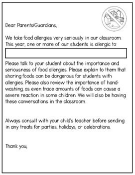 Student Allergy Classroom Forms