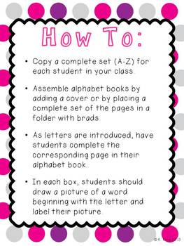 Student Alphabet Book Printable Pages A-Z