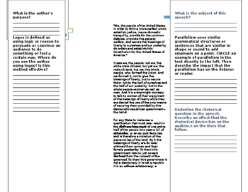 """Student Analysis of """"A Woman's Right to Suffrage"""" by Susan B. Anthony"""
