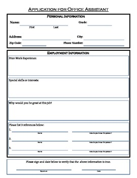 Student Application for Classroom Office Assistant