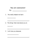 Student Appreciation Letter to Staff (English and Spanish)