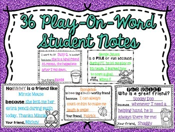 Student Appreciation/Fill A Bucket Notes (66 Styles Included)
