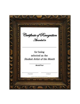 Student Artist of the Month Certificate