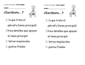Student Assessment Checklists Spanish/Espanol
