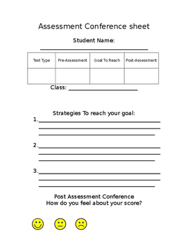 Student Assessment Conference Sheet