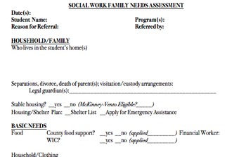 Student Assessment Outline for Student Support Staff