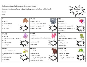 Student Assessment Record Sheet for the 'Counting Homework Cards'