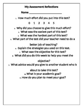 Student Assessment Reflection