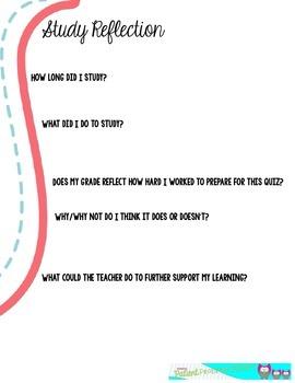 Student Assessment Reflection **FREEBIE**
