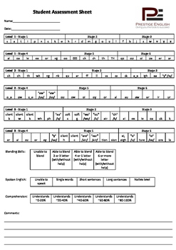 Student Assessment Sheet - Phonics / Reading / Blending (Jolly Phonics) FREE