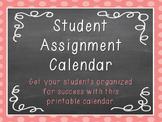 Student Assignment Calendar