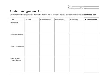 Student Assignment Planner for Middle School Students RTI