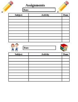 Student Assignment Tracking Sheet