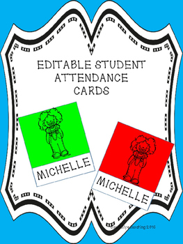 Student Attendance  Cards (Editable)