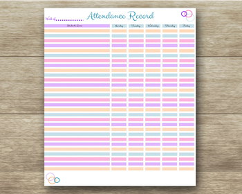 Student Attendance Record - Teachers, Homeschool, Record Keeping