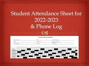 Student Attendance Sheet 2016-2017 & Phone Log for Speech, OT, PT or Classroom